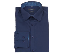 Businesshemd, Body Fit, Innenkragenmuster, Blau