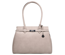 "Shopper ""Ingrid"", Leder-Optik, Karo-Steppmuster, Taupe"