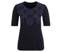Shirt, 3/4 Ärmel, Strasssteine, Print, Blau