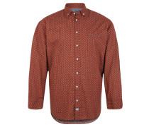 Freizeithemd, Button-Down-Kragen, Baumwolle, Punkte, Rot