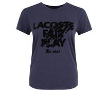 T-Shirt, Flock-Druck mit Logo, Rundhals-Ausschnitt, Blau