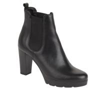 Chelsea Boots, Leder, Plateau-Absatz, rockig, Schwarz