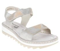 Sandaletten, Glitzer-Riemen, Nieten-Besatz, Klettverschluss, Silber