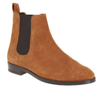 Chelsea Boots, Velours-Leder, flach, genoppte Sohle, Braun