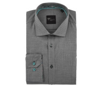 "Businesshemd ""Black Label"", Slim Fit, geometrisches Muster, Grau"