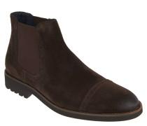 Chelsea Boots, Veloursleder, elastische Einsätze, Braun