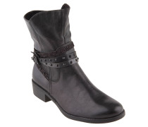 Boots, Biker-Stil, Riemchen, Nieten, Grau