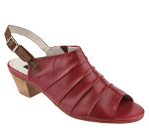 Sandaletten, Leder, Riemchen, Biesen, Rot