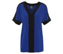 Blusenshirt, V-Ausschnitt, lockerer Schnitt, zweifarbig