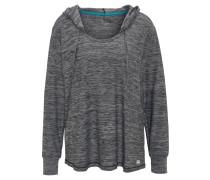 Langarmshirt, meliert, atmungsaktiv, Kapuze, für Damen, Blau