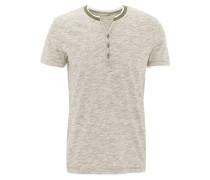 T-Shirt, Baumwoll-Mix, Henley-Ausschnitt, meliert