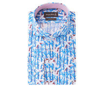 Businesshemd, Custom Fit, Vogel-Print, Blau