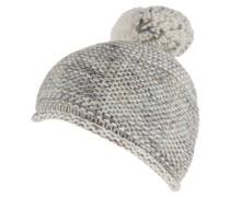 Mütze, Bommel, Rollsaum, Fleece-Futter