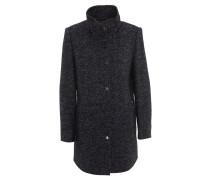 Mantel, Klappkragen, Woll-Anteil, Fischgrät-Muster, Blau
