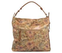 Handtasche, Leder-Optik, viele Fächer, Braun