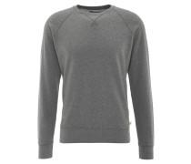 Sweatshirt, uni, Ziernähte, Rippbündchen, kleiner Print, Grau