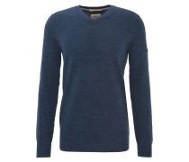 Pullover, meliert, Baumwoll-Strick, V-Ausschnitt, Blau