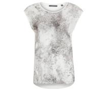 T-Shirt, Print, Glitzer-Tupfen, fließend, Weiß