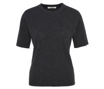 Pullover, Halbarm, schmale Schnittform, uni, mit Kaschmir, Grau