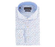 Businesshemd, Custom Fit, Blumenmuster, Haifischkragen, Blau