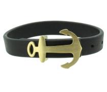 Anker Armband 107694 Edelstahl Leder schwarz gold matt