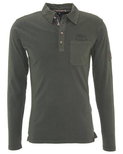 Langarmshirt, Polo-Stil, grobe Nähte, Schwarz