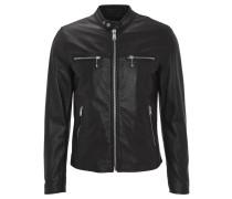 Lederjacke, Biker-Stil, Lammleder, Reißverschlusstaschen, Schwarz
