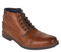 Stiefel, Schnürung, Leder, Reißverschluss, Profilsohle, Braun