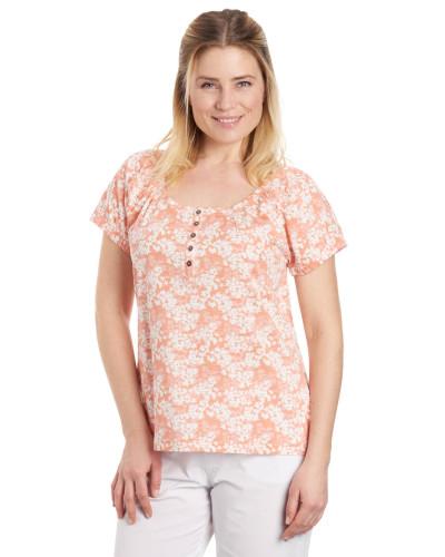 T-Shirt, Blumen-Muster, elastischer Ärmelsaum, Baumwolle