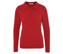 Pullover, uni, reines Kaschmir, Polo-Kragen, Knopfleiste, Rot