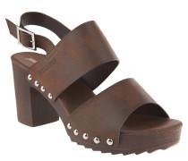 Sandalen, breite Riemen, Nieten, Blockabsatz, Braun