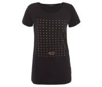 T-Shirt, Nieten-Aufdruck, Label-Print, elastisch, Schwarz
