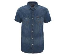 Freizeithemd, Jeans-Look, Kurzarm, Brusttaschen, Blau