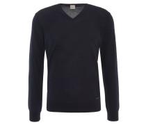 Pullover, uni, V-Ausschnitt, Ripp-Bund, Blau