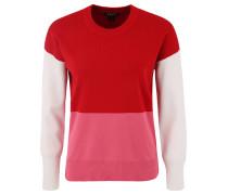 Pullover, Strick, Colour-Blocking, Saumschlitz, Rot