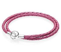 Armband, Leder, 2-reihig, pink, 590734CHP