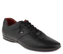 Schnürschuhe, Sneaker-Stil, Leder in Reptil-Optik, Schwarz