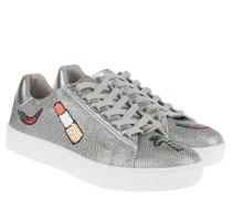 Sneaker, Glitzer, Pailletten-Motive, Emblem, perforiert, Silber