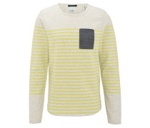 Sweatshirt, Streifen, Brusttasche, Jeans-Optik, Gelb