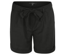 Shorts, Bundfalten-Dekor, Stoffgürtel, Schwarz