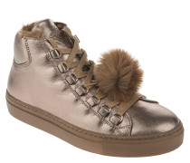 Sneaker, Leder, Metallic-Optik, Kunstfell-Besatz, abnehmbare Bommel, Mehrfarbig