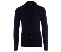 Strickjacke, Wolle, Reverskragen, Kontrastblenden, Blau