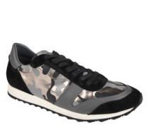 Sneaker, Leder, Camouflage-Muster, Metallic-Optik