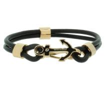 Anker Armband 107686 Edelstahl Leder Zirkonia schwarz rosegold