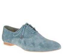 Schnürschuhe, Veloursleder, einfarbiges Design, Blau