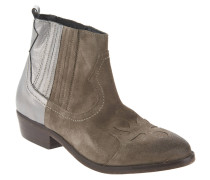 Chelsea Boots, Leder, Stickerei, Taupe