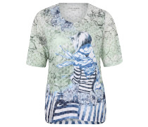 Shirt, 3/4-Ärmel, gemustert, Große Größen, Grün