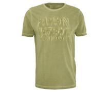 T-Shirt, gummierter Print, Washed-Out-Effekt, Grün