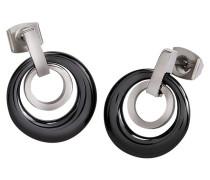 Ohrstecker Ringe Titan mit Keramik schwarz 0588-02