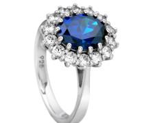 Ring, mit blauen Zirkonia, Silber